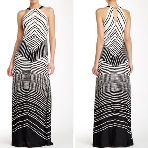 EUC sz 0 Halston Heritage Halter Stripe maxi dress